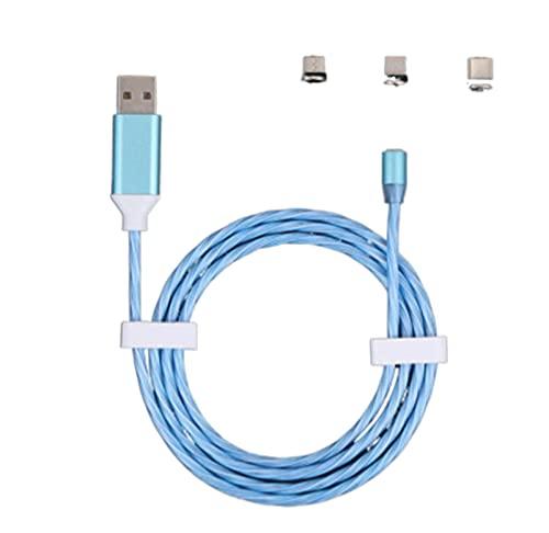 YUNYUN Cables de Datos Cable de Carga Lumina Luminosa Fluir Luz Magnético Magnético Cable de Carga Ajuste for iPhone DIRIGIÓ Micro USB Tipo C for Xiaomi Samsung (Color : Blue, Length : 2m)