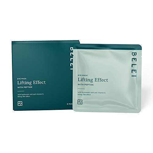 Marca Amazon - Belei Mascarilla de hidrogel antigoteo para ojos, efecto lifting, con péptidos, paquete de 5