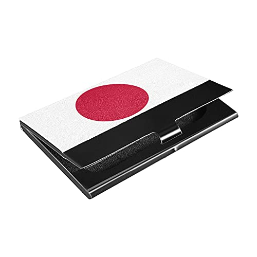 Soporte para tarjetas de visita de acero inoxidable, diseño de bandera de Japón, titular de la tarjeta de crédito de cuero sintético, para hombres y mujeres (p