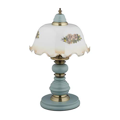 Relaxdays Tischlampe, Vintage Blumenmuster, Landhaus Stil, E27, Holz, Glas, Tischleuchte, HxD: 44 x 27 cm, weiß/grau 10034200