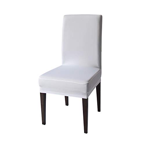 White Spandex Stretch Dining Chair Covers - 4 PCS Knit Removable Washable Dining Chair Slipcovers (White, 4)
