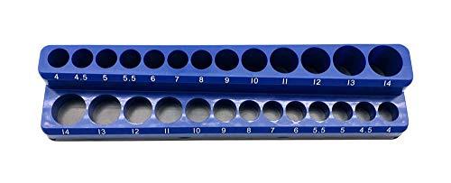 Industro 111 Magnetische Ablage für Steckschlüsseleinsätze, P.P/Ferrogum, blau, 235 x 55 x 35mm