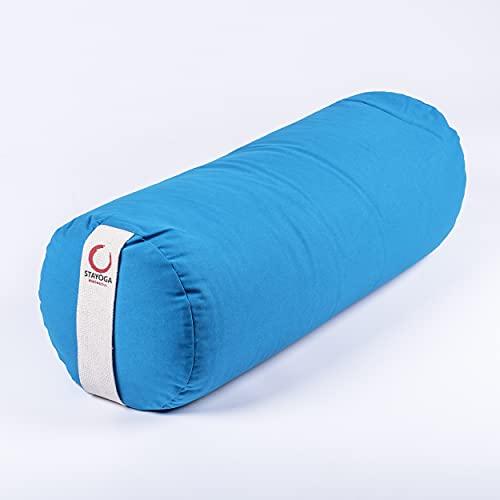 STAYOGA Cojín Bolster de Meditación para Yoga de Color Azul. Se USA generalmente como Soporte para la Columna. Hecho a Mano. De Alta Durabilidad.