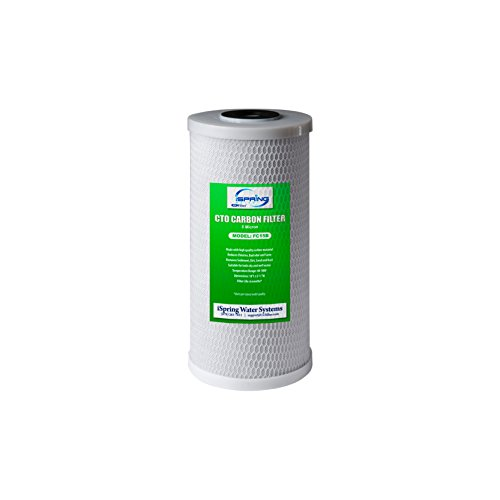 """iSpring FC15B High Capacity Activated CTO Carbon Block Filter Replacement Cartridge for Under Sink and Whole House Water Filtration System, 4.5""""x4.5""""x10"""", Big Blue 5-Micron 10""""x4.5"""""""