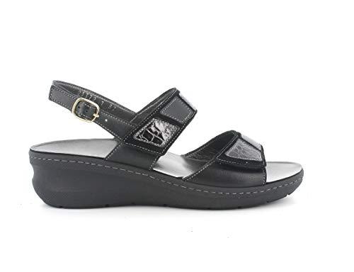 Melluso Sandalo Donna k95206 in Pelle Nero con Sottopiede in Memory Foam 38