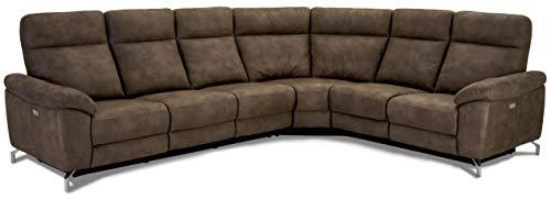 Ibbe Design L Form Ecksofa Braun Stoff Relaxsofa Couch mit Elektrisch Verstellbar Relaxfunktion Heimkino Sofa Selesta mit Fussteil Links, 310x252x69x101 cm