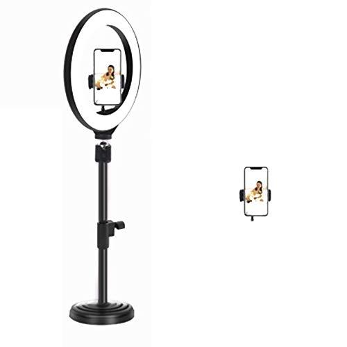 Huaduo Anillo de luz con trípode/soporte redondo, teléfono móvil y soporte para cámara remota para fotografía en directo y maquillaje en YouTube.