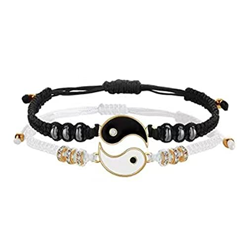 KAITUO Tai Chi Yin Yang Pareja Pulseras Aleación Colgante Ajustable Cadena de Trenza Pulsera Collar Moderno Amante Pulseras Collares (Metal Color : Gold Edge Set)