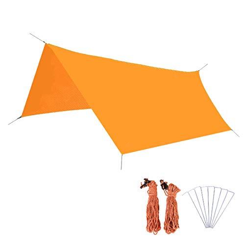 Azarxis tält presenning vattentät hängmatta regn flyga presenning 300 220 marktäckare camping solskydd skydd anti-UV basha strand matta fotavtryck lätt bärbar för picknick vandring utomhus Orange L (300cm×300cm)