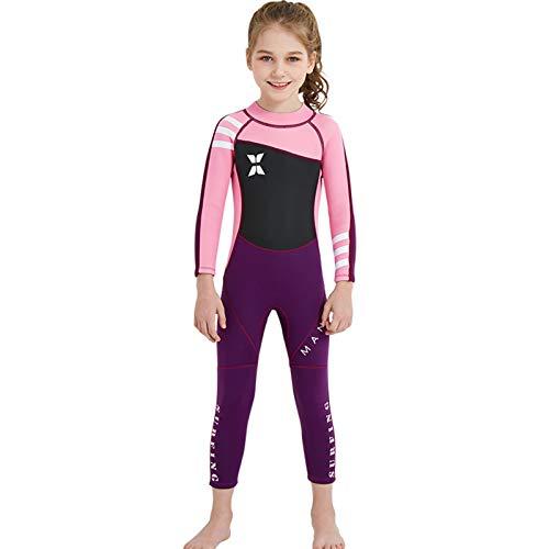 PROTAURI Mädchen 2,5 mm Neopren Thermal Neoprenanzug, Kinder Langarm Einteiler Nassanzug zum Schwimmen, Tauchen, Schnorcheln