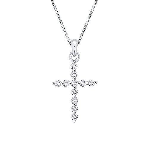 Cadena con colgante de cruz de diamantes en 14K oro blanco (1/4quilates)