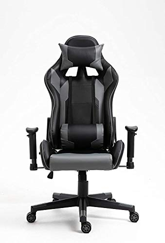 Video Game Chair, PU Leather Reclining Ergonomic Backrest, Adjustable Swivel Task Chair with Armrest and Lumbar Support