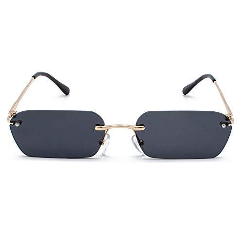 CCTYJ Sonnenbrillen Randlose rechteckige Sonnenbrille Frauen klare Farbe Quadrat Sonnenbrille für Männer kleine Größe UV400-Gold mit schwarz
