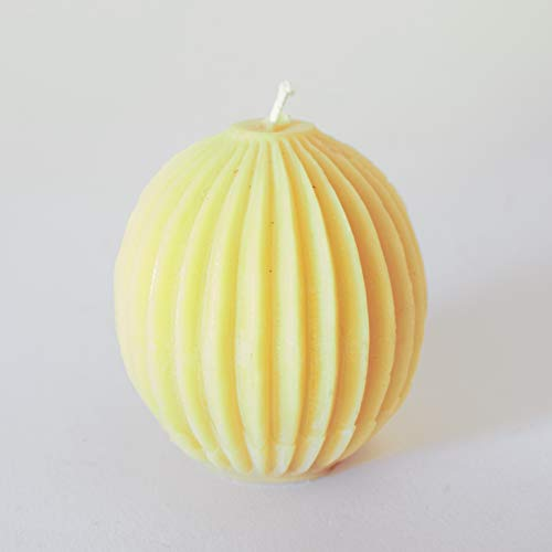 Segmented sphere beeswax candle made with organic beeswax