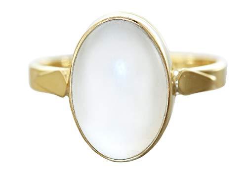 Hobra-Gold - Anello in oro 750 con cristallo di rocca, cabochon, 18 carati, solitario da donna