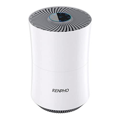 RENPHO 空気清浄機 除菌 HEPAフィルター 空気清浄器 小型 12畳対応 花粉対策/ほこり除却/細菌消除/タバコ対応など 空気状態検知センサー搭載 空気浄化器 タイマー機能付 AUTO/TURBO/スリープと3つのモード切り替えでき 風速調節機能 静音 くうきせいじょうき マイナスイオン産出 CADR 125㎥/h 米白色