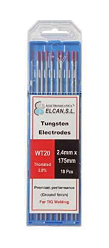 ELCAN Tungstenos soldadura TIG Torio 2.0% Rojo WT20 profesional, electrodos soldadura para...