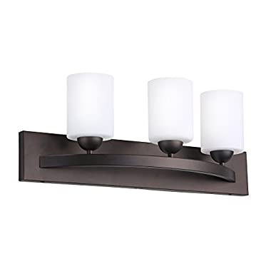 CloudyBay CB17001-ORB Bathroom Vanity Light Fixture,3-Bulb Wall Sconce With Opal Glass Shade,UL Listed,Oil Rubbed Bronze Finish