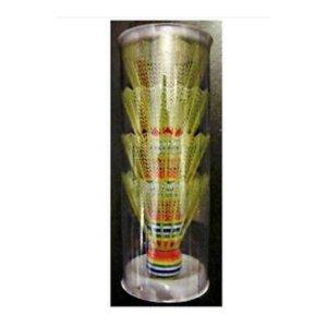 SPORTSIDE- Tubes de 4 Vollants de Badminton – Jaune – 46595 – 7 cm – Jeu de Plein Air dès 36 Mois