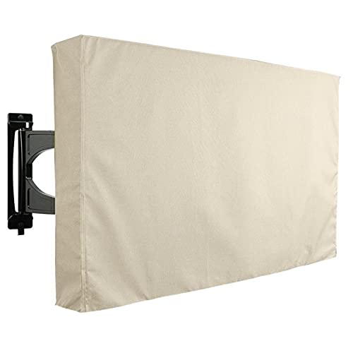 Cubierta de televisión al Aire Libre 600D Tela de poliéster Resistente a la Intemperie TV de Pantalla Plana LCD Protector de Pantalla LED de 22 Pulgadas a 52 Pulgadas-Beige  40-42'
