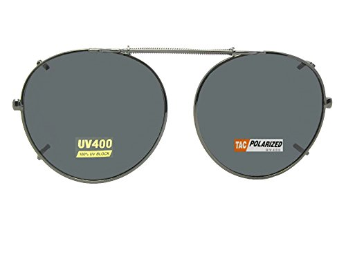 Semi Round Polarized Clip On Sunglasses (Pewter-Polarized Gray Lens, 48mm Wide x 46mm Height)