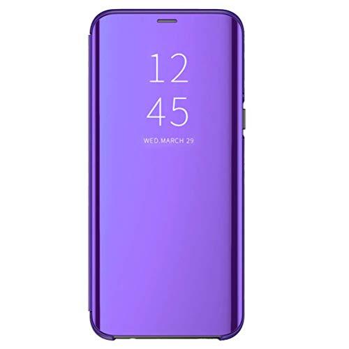 Croazhi Compatible pour Coque Samsung Galaxy S20+ Case Etuit Placage Clair Flip Miroir Clear View PC+Silicone 360 Protection Couverture Coque Antichoc pour Samsung S20+ Smartphone