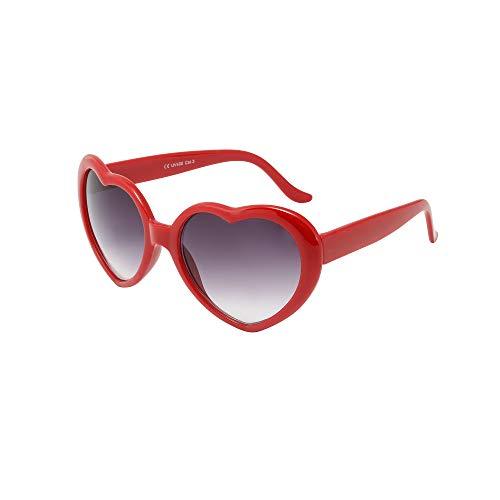 ASVP Shop® Moderne Sonnenbrille, Retro-Stil, Herz-Design, Lolita-Look / Partybrille H4 Gr. M, rot