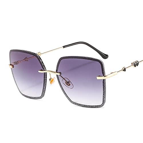 SONGYUAN Gafas de sol sin montura de cristal colorido con incrustaciones C1...
