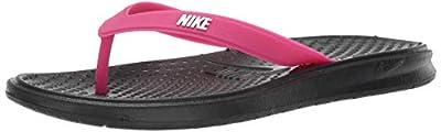 Nike Women's Solay Thong Sport Sandal, Black/White-Vivid Pink, 7 Regular US