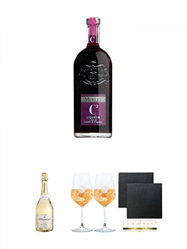Merlet C2 Cognac & Cassis 0,7 Liter + Schlumberger Sekt Brut 0,75 Liter + Miamee Goldwasser Cocktail Gläser mit 5cl Eichstrich 2 Stück + Schiefer Glasuntersetzer eckig ca. 9,5 cm Ø 2 Stück