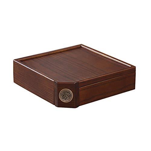AQzxdc Caja Té PU Erh de Madera Maciza Retro, Caja de Almacenamiento de Té de Cuchillo de Té, Bandeja Té Multicapa Té A Prueba Humedad Sellada Puede Hogar Accesorios Decoración