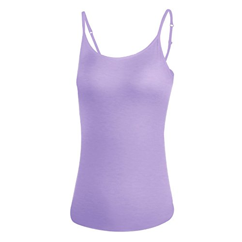 Adjustable Women Camisole with Built in Shelf Bra, Tank Top Seamless Comfortable Padded Wireless Bra cami Purple
