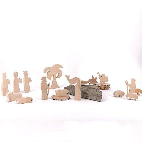 Set Krippenfiguren II Palme - handgefertigte Krippenfiguren aus Holz - Weihnachtsgeschenk, Nikolaus