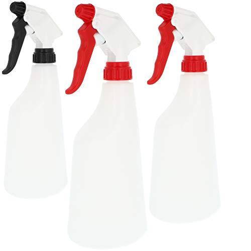 com-four® 3X Sprühflasche Chemiebeständiger Pumpsprüher für Säuren, Laugen und Salzlösungen