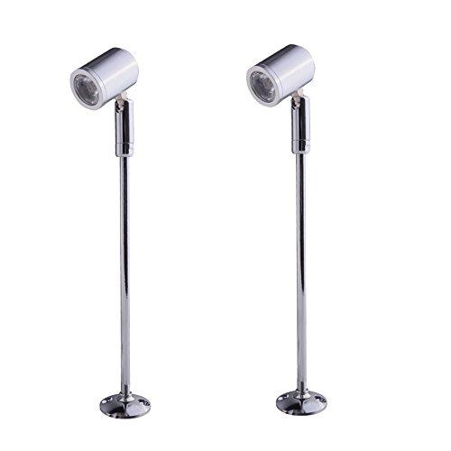 Elitlife 2 x Steckbare Vitrinenleuchte Mini Spot Scheinwerfer Beleuchtung LED Spotlight Lampen 21cm Warmweiß LED On Top mit Dreh und Schwenkbaren Spot Stehleuchte Accademia für Displaybeleuchtung