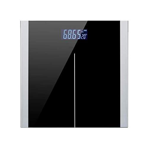 JKCKHA USB de carga de precisión electrónica de la escala Báscula pesa la escala de Salud del hogar Peso Corporal Metro, ultra delgado de lectura fácil vidrio templado, Paso-On Technology-Negro