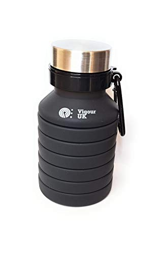 Vigour UK - Botella de agua plegable ecológica de silicona de grado alimenticio deportiva - Negro - 550 ml a plena capacidad - Peso ligero - portátil de moda aprobado por la FDA - Sin BPA