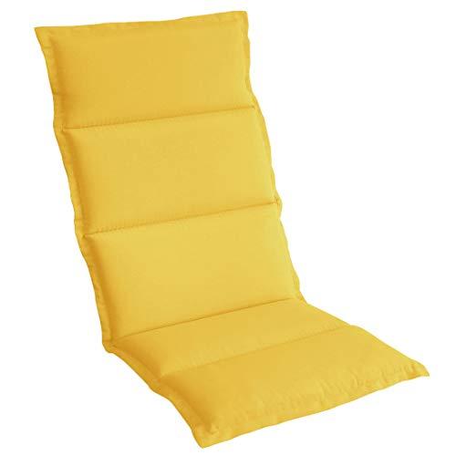 OUTLIV. Polsterauflage Klappsessel -Auflage Sitz- Rückenkissen 120x50x5 cm Gelb Sitzauflage für Gartensessel und Gartenstuhl