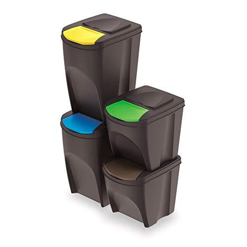 Prosperplast Juego de 4 Cubos de Reciclaje (2x35L y 2x25L) Sortibox de plastico en Color Antracita, 2 Grandes + 2 pequeños