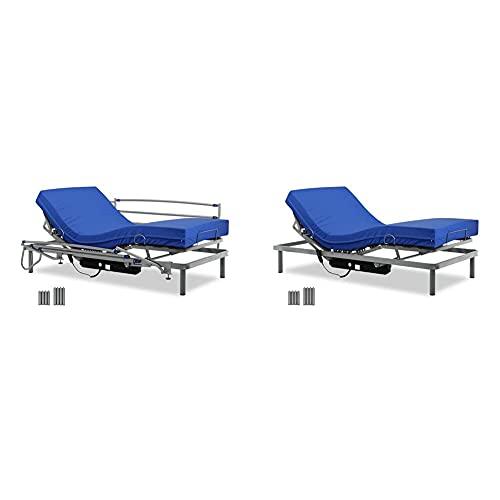 Gerialife Cama Articulada Eléctrica con Colchón Sanitario Viscoelástico Y Barandillas | Patas Más Altas (90X190, Plateado) + Cama Articulada con Colchón Sanitario HR Impermeable (90X190)