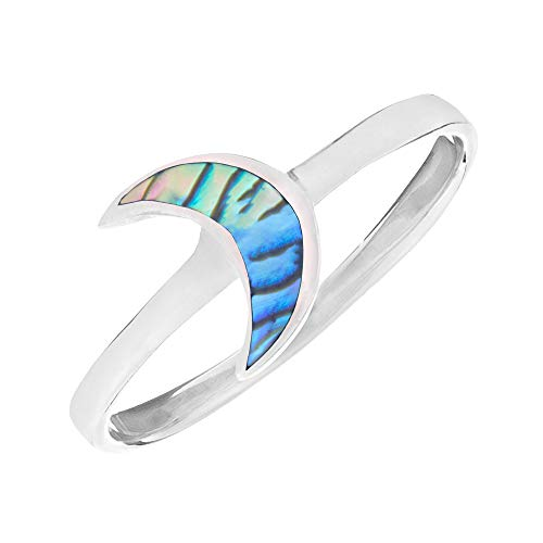 81stgeneration Women's .925 Sterling Silver Paua Abalone Shell Night Moon Stackable Ring, J 1/2