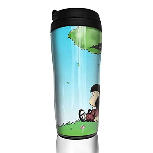 Taza de café de Viaje Anime Mafalda Tazas de Viaje clásicas Taza de café de 12 oz Vasos Tazas Tazas de café Botella con Aislamiento al vacío de Doble Pared Vasos portátiles