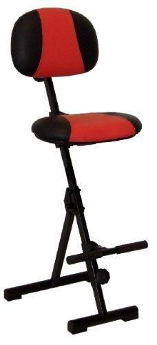 Stehhilfe mit Aufstiegshilfe, Sitz und Rücken Kunstleder rot/schwarz, Zusammenklappbar