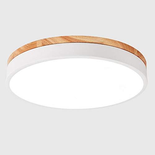Modern LED Deckenlampe Dimmbar mit Fernbedienung,24W Weiss Metall und Holz Rund Decken-Beleuchtung Badlampe Schlafzimmerlampe Deckenleuchte Schlafzimmer Galerie Toilette Flur Balkon,φ40CM