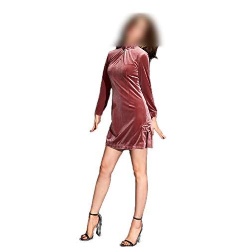 Qipao El vestido mejorado de terciopelo elstico manga larga cultiva la moralidad vestido