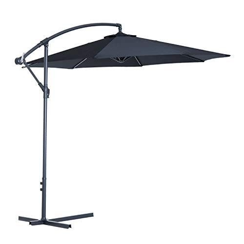 Outsunny Sombrilla Reclinable de Jardín o Patio Parasol para Exterior Negro Acero y Tela de Poliéster 180g/㎡ Φ3 x 2.6m (Diámetro x Alto)