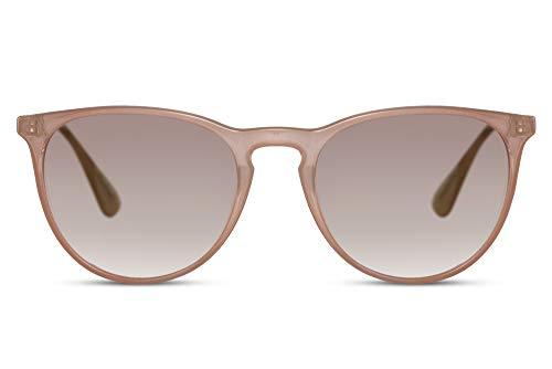 Cheapass Gafas de Sol Brillante Beige Transparente Montura Ligeras Cristales Graduales Vintage UV400 protegidas Mujeres