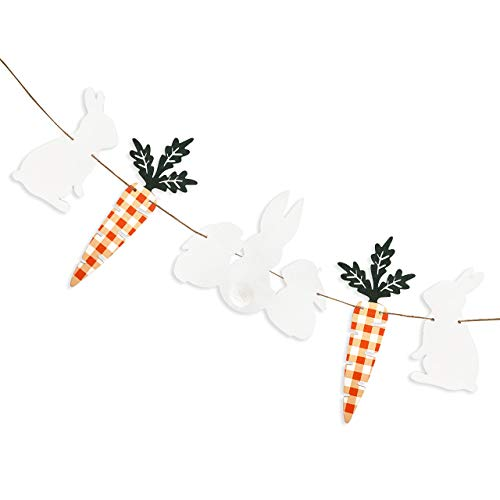 Pink Blume Wood Easter Banner Decorations Easter Bunny Carrot Garland Rabbit Spring Decor for Happy Eatser Day Birthday Party Office Home Fireplace Boys Girls Room Wall Hanging Decorations (Lattice)