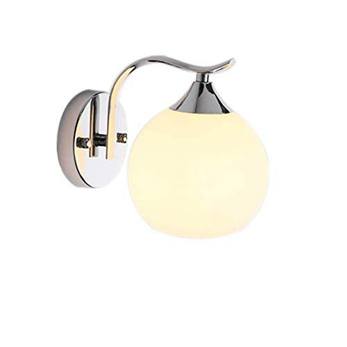Sencillo pero bonito lámpara de pared lámpara Nordic minimalista cabecera del dormitorio, lámpara de pared de hierro del cuerpo esférico de vidrio, adecuado for el dormitorio, telón de fondo TV, pasil