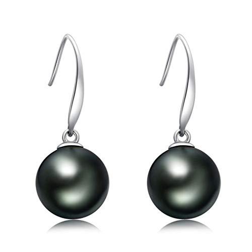 YMQMYZ Elegante Temperament Frau Schmuck 18K Gold-Ohr-Haken Tahitian natürliche Schwarze Perlen-Ohrringe 10-11mm Sea Pearl Ohrringe Fashion Ohrringe,Silber